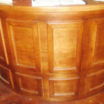 Curved Reception Desk at the Trappe Door Restaurant